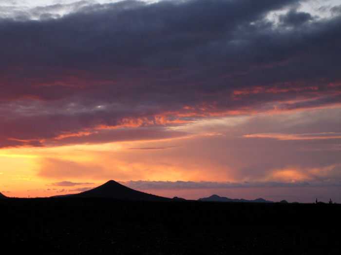 Arizona sunset above nearby Black Butte