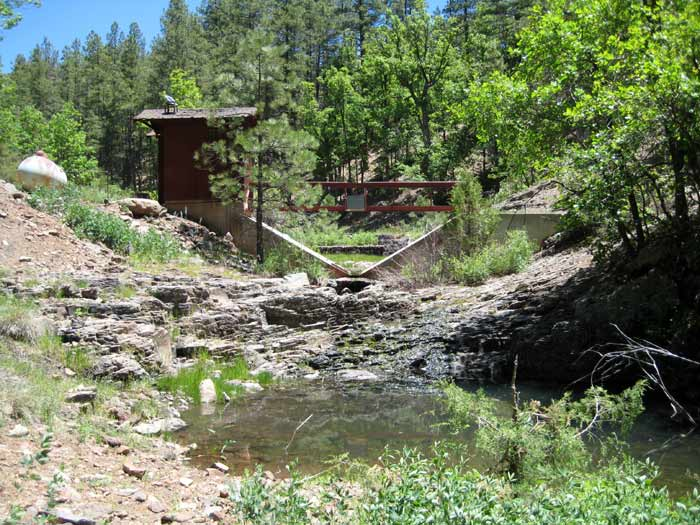 Campbell Spring and a research station to monitor the spring. The spring is down Forest Service Road 229F, which is off of FR-229.