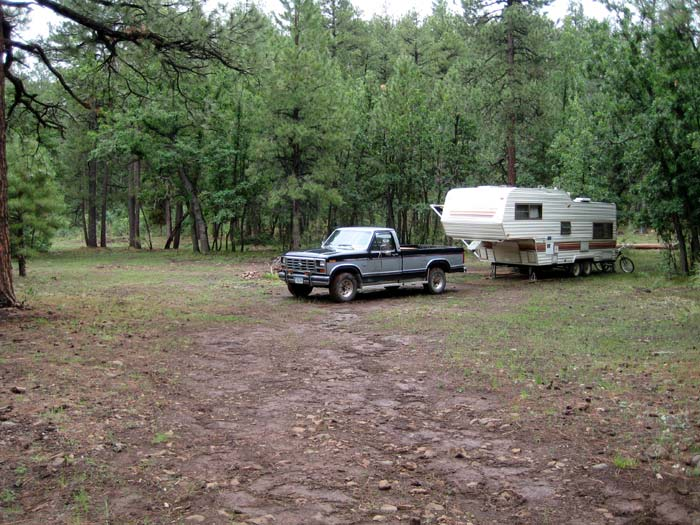 RV camping above Oak Creek Canyon amongst a beautiful ponderosa pine forest. Found this campsite off national forest road 535 north of West Fork Oak Creek.