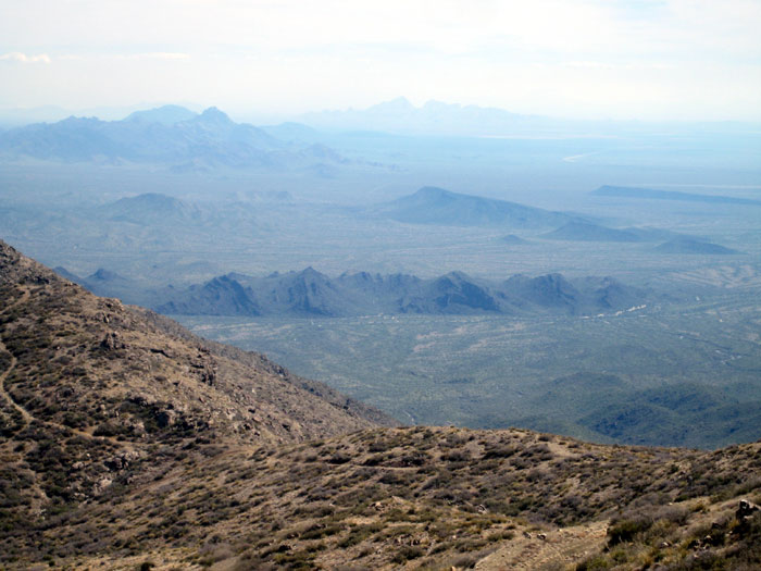 Looking south from Harquahala Peak - you can just make out Saddle Mountain in the distance