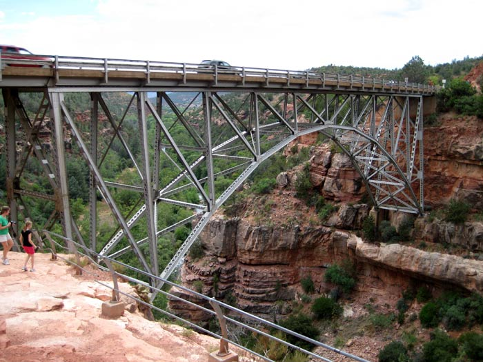 Midgely Bridge is a popular place to stop along US Highway 89A. There are great views of Oak Creek Canyon, a trail down to Oak Creek, and the trailhead for Wilson Mountain Trail (to the top of Wilson Mountain) is here.