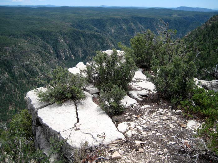 A rocky precipice overlooking Oak Creek Canyon on the west rim, which is about 600 feet higher than the east rim at this point. Photo taken from Harding Point.