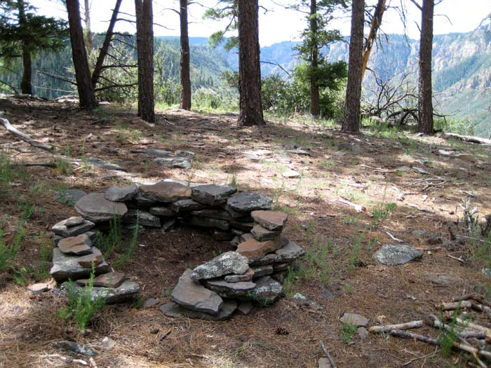 A great campsite overlooking Oak Creek Canyon found on the east rim along Thomas Point Trail. Sorry, no RVs here! You'll need your two feet to get to this one.