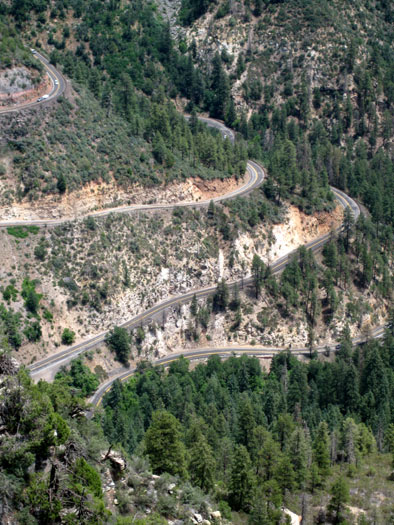 Here's what you're in for if you plan on visiting Oak Creek Canyon from Flagstaff. This is US Highway 89A as it takes the plunge down into the canyon. The Oak Creek Vista is at the top of the road. This picture was taken from the west rim at Harding Point.