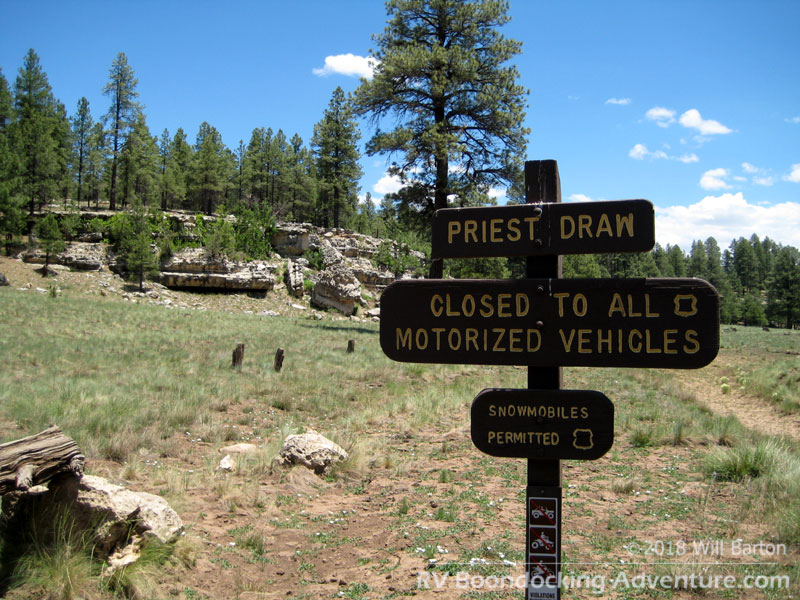 This is the west Priest Draw trailhead accessible from National Forest Road 235 via NF-700
