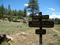 Picture of the Priest Draw Trailhead south of Flagstaff, Arizona