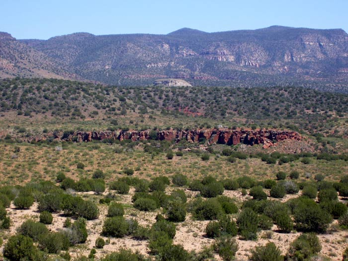 The southern end of Red Tank Draw in the Verde Valley. Picture taken from a hilltop along East Beaver Creek Road.