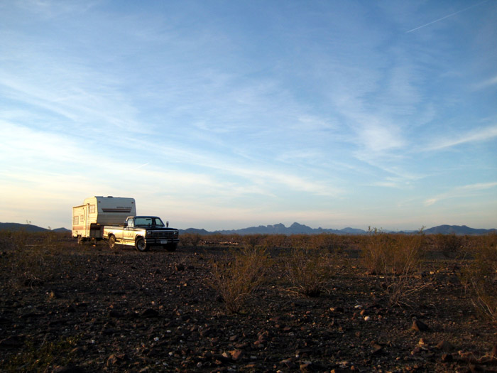 RV camping north of Woolsey Peak Wilderness Area with Saddle Mountain off in the distance