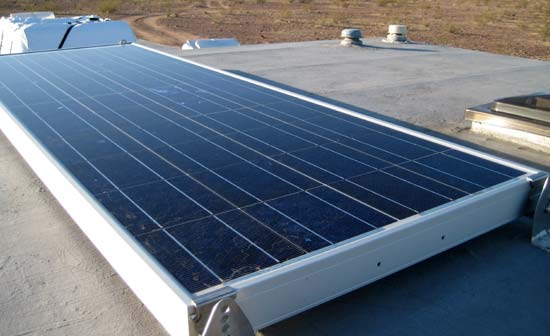 RV solar panel mounted on roof