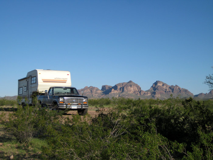 RV Boondocking with Saddle Mountain in the background