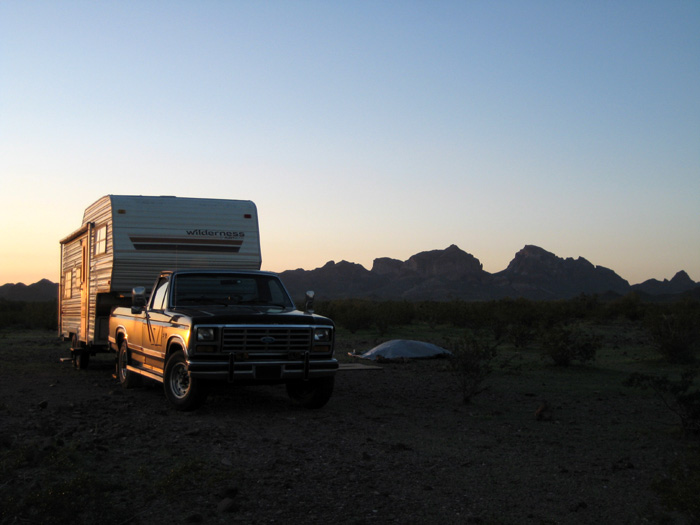 RV Camping with Saddle Mountain as the backdrop