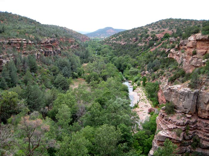 Oak Creek Canyon as it heads toward Sedona. Picture taken from Midgely Bridge.