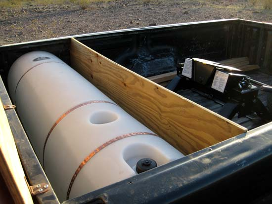 water tank in truck bed