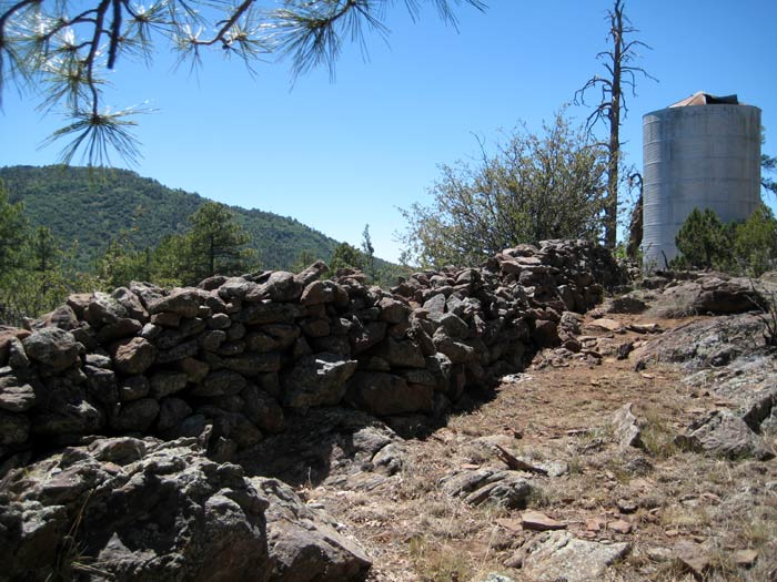 Water tank at the T-Bar Ranch historic homestead site at Apache Maid Mountain
