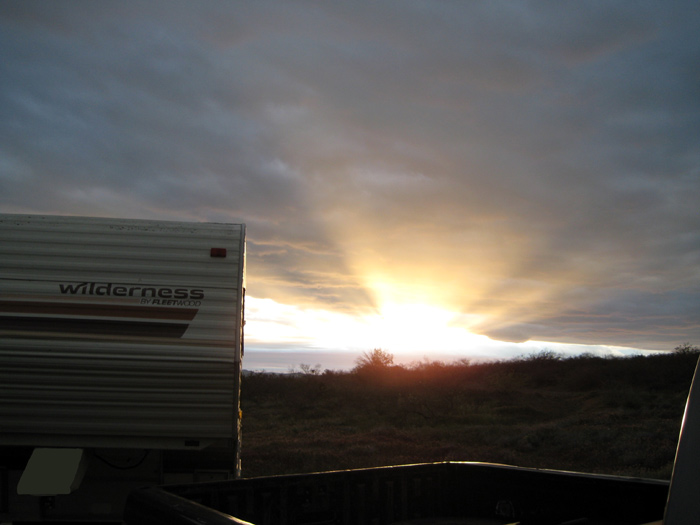 RV Boondocking along Bull Pen Road (FR 215) as the sun is setting