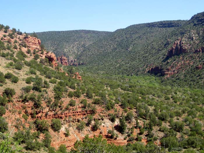 View of Wet Beaver Creek Canyon while hiking Apache Maid Trail in Wet Beaver Wilderness Area