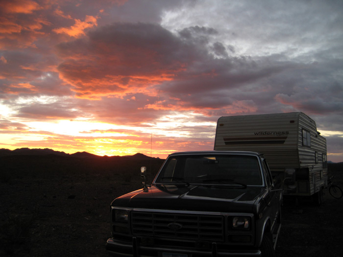 RV boondocking with a fine Arizona sunset