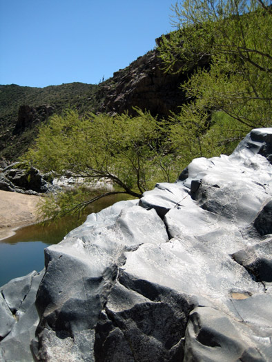 Polished granite along the bank of the Agua Fria River