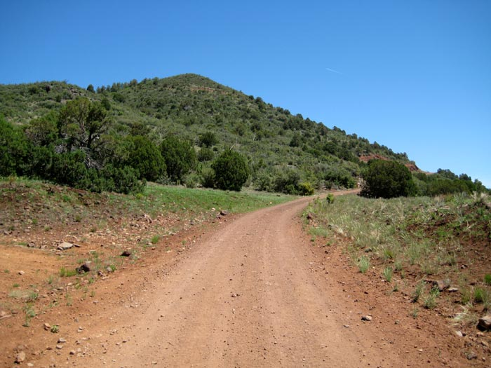 This is the forest service road to the top of Apache Maid Mountain and to the fire lookout station. The road is accessed from the south side of the mountain off of FR-230.