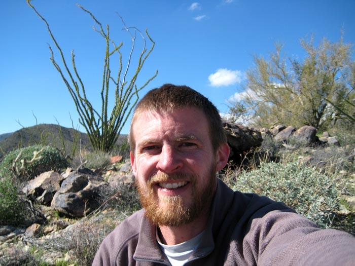 Taking a break while mountain biking down from Harquahala Peak