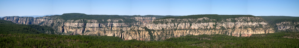 Panoramic of Oak Creek Canyon from Ritter Butte, which is east of Pine Flat Campground.