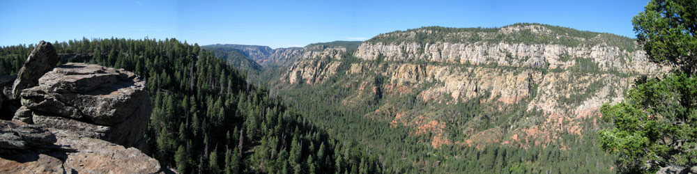 Panoramic of Oak Creek Canyon from the east rim near Cookstove Trail