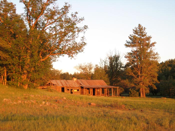 The T-Bar Ranch, a historic homestead on the edge of the meadow adjacent to Apache Maid Mountain