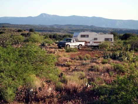 RV boondocking near Montezuma Well, Arizona