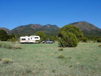 RV Camping with Bixler and Bill Williams Mountain in Background