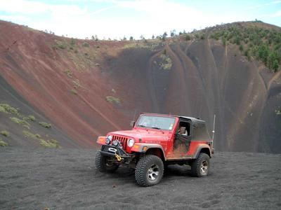 Jeep Emerging From the Volcano at Cinders Hills OHV Area