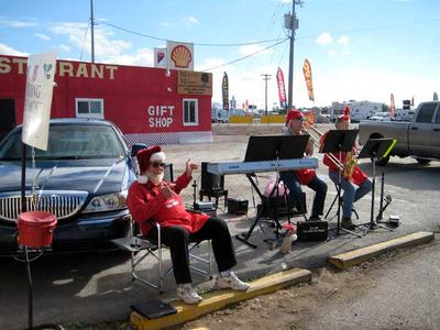 The Salvation Army playing a few tunes at the Quartzsite post office