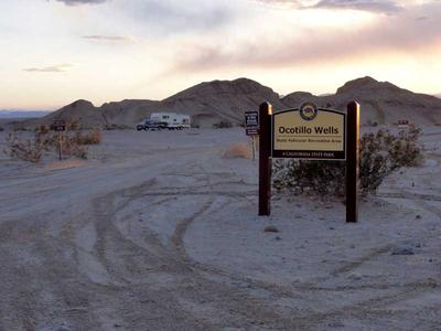 Ocotillo Wells State Vehicular Recreation Area entrance and camping area