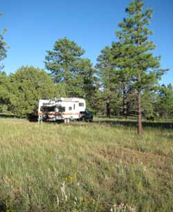 RV boondocking on the Anderson Mesa near Flagstaff, Arizona