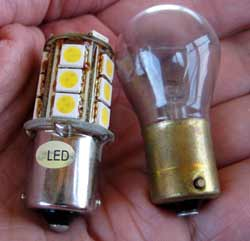 Replacing incandescent light bulbs with highly efficient LED lights for RV boondocking