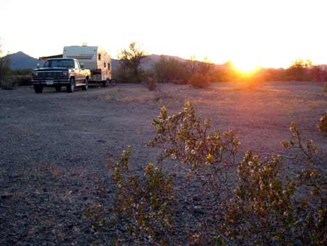 RV boondocking at the LTVA near Quartzsite, Arizona