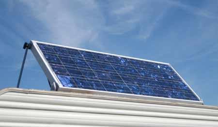RV solar panels mounted on RV roof