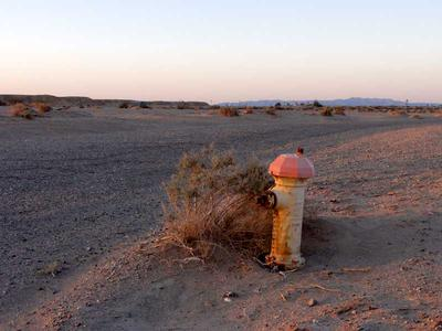 Fire Hydrant Along an Empty Street in Salton City