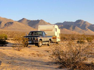 RV Camping near Short Canyon with the Sierra Nevada Mountains Rising Above