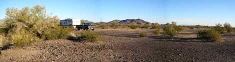 RV boondocking at the LTVA near Quartzsite, Arizona