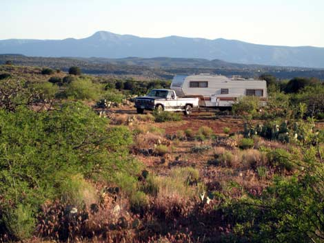 RV boondocking near Montezuma Well, Arizona
