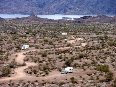 RV Camping Near Standard Wash With Lake Havasu in Background